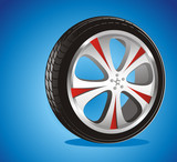 automotive wheel with alloy wheels and low profile tires poster