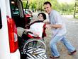 Leinwanddruck Bild - senior woman in wheelchair