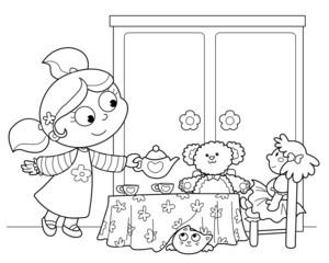 Bambina che gioca a servire il te alle bambole