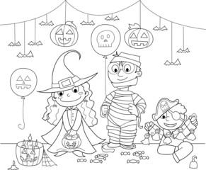 Bambini vestiti alla festa di Halloween