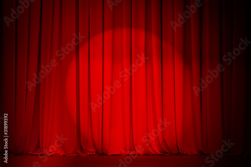 theatre red curtain with spotlight