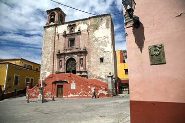 Square and Church of San Roque Guanajuato Mexico