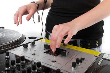 Hands of female disc jockey