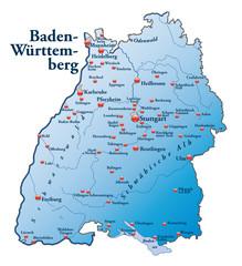 Baden Württemberg Übersicht blau in SVG