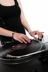 Female hip-hop DJ scratching the record