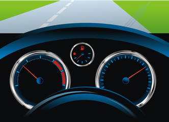 dashboard car - tachometer, speedometer and fuel level sensor