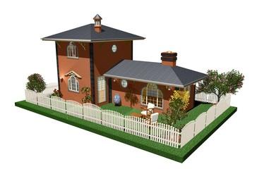 Villa Casa con Giardino-House with Garden-3D-2