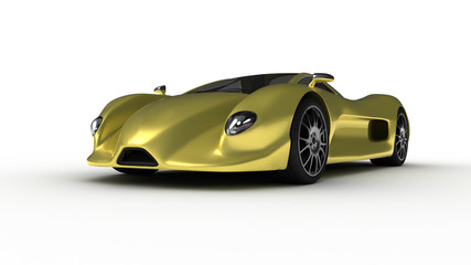 Gold prototype car 3 perspective view
