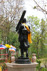 Statue of monk on pilgrimage