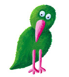 Green bird with pink beak poster