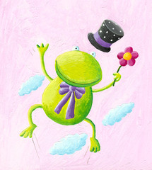 Funny frog jumping
