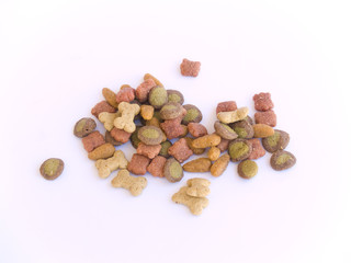 Pile of Multi-Colored, Multi-Shaped Dog Food Kibbles
