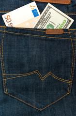 Money in jeans hip pocket