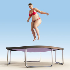 overweight woman jump on trampoline