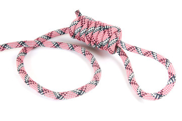 Red-white-black alpinist rope with hanging loop