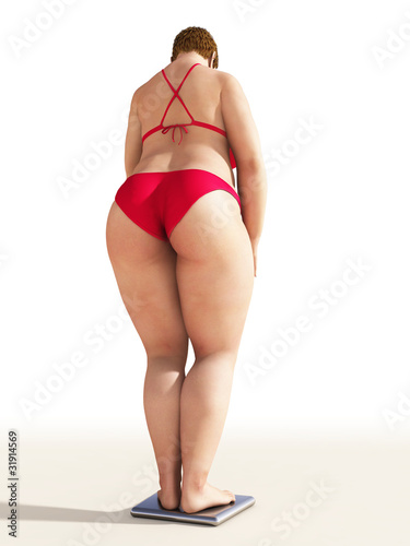overweight woman on scales