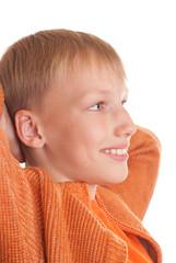 happy boy in the orange shirt