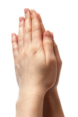 woman hands together symbolizing prayer and gratitude