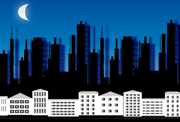 Silueta de una ciudad de noche