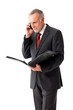 Mature business man with folder, phoning