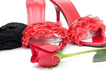 A pair of red shoes, a rose and black stocking