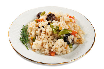 Vegetable risotto on plate