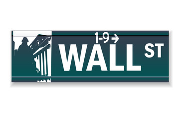 Realistic Wall street sign illustration