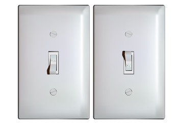 Electric light switch in ON and OFF positions