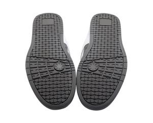 Sneakers soles upward