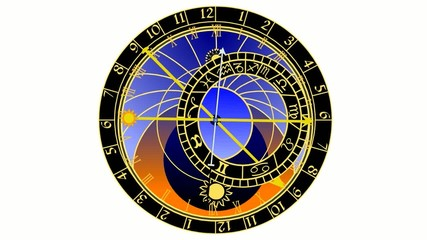 astronomical clock on white background