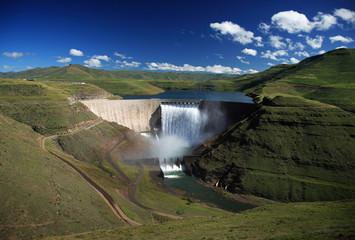 Wide angle photo of the Katse dam wall in Lesotho