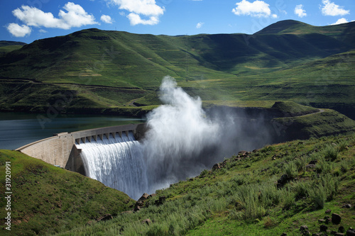 Mist rising above the Katse dam wall in Lesotho - 31920991