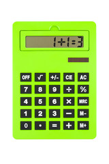 Green Calculator showing Wrong, paradoxical Calculation
