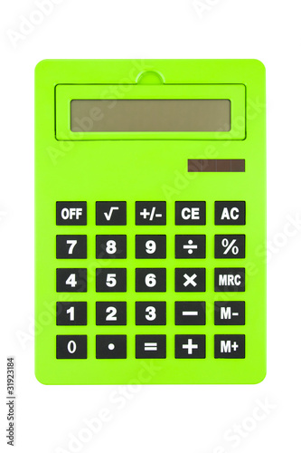 Big Green Calculator Isolated on White