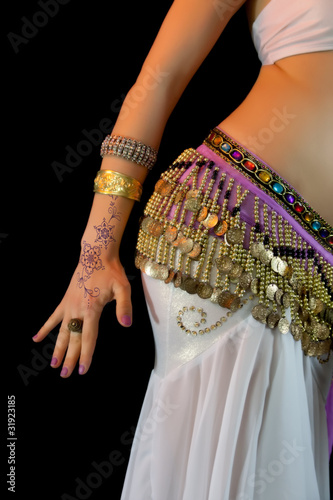 Young Belly Dancer, mid section, abdomen close-up