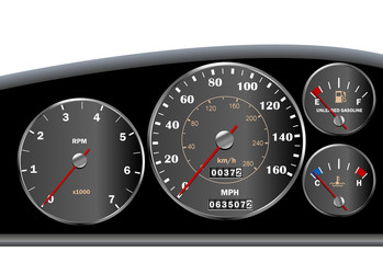 Car dashboard speedometer for motor or sportscar