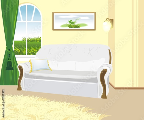 Fragment of living room. Classic style. Vector