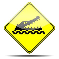 Señal peligro cocodrilo