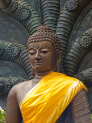 Buddha statue with seven head snakes guardian