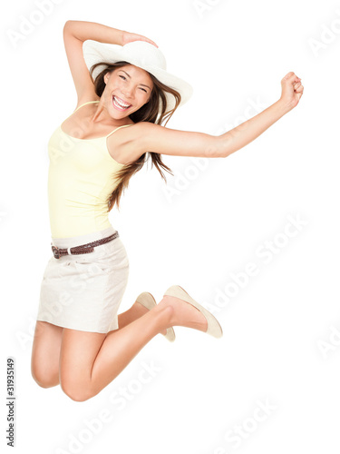 Summer woman jumping
