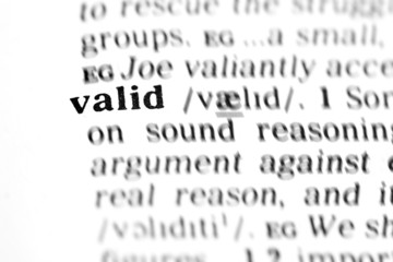 valid  (the dictionary project)