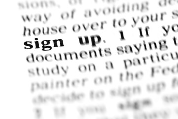 sign up (the dictionary project)