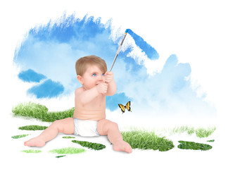 Baby Painting Green Nature Sky