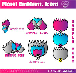 gallerie flowers vectors, emblems, icons