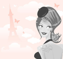 Sexy girl on a background of Tour d'Eiffel silhouette