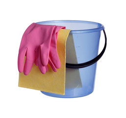 Bucket with gloves.