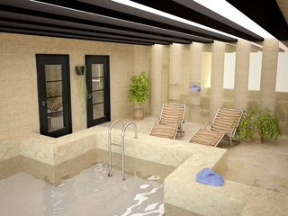 Swimming Pool Inside House in3D