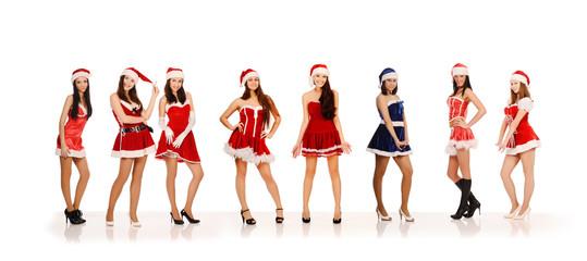 Women in Santa Claus costumes