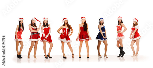 Women in Santa Claus costumes