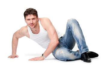 man in jeans  is on an isolated background